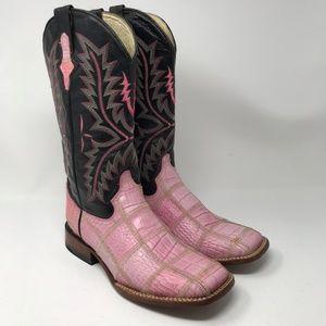 Ferrini Square Toe Pink Leather Cowboy Boots 9